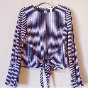 H & M Stripe Bell Sleeves Blouse